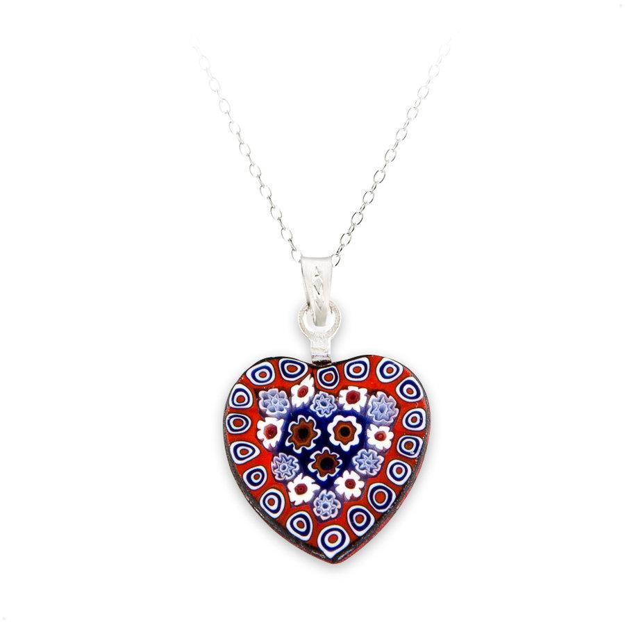 pandantiv in forma de inima din sticla de murano montura argint